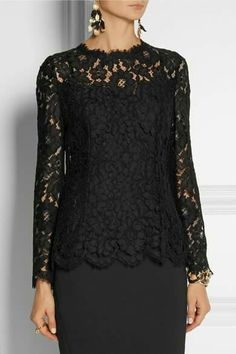 Lace top by Dolce Gabbana Frock Fashion, Girl Fashion, Fashion Dresses, Womens Fashion, Paris Fashion, Evening Blouses, Lace Blazer, Black Lace Tops, Event Dresses