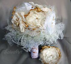 Wedding Fabric Flower Bouquet Brooch Bridal Bouquet Wedding Boutonniere Gold…