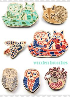 wooden owl brooches