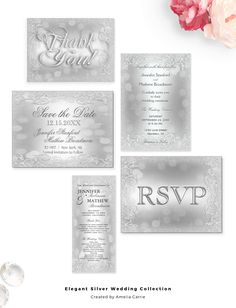 An elegant silver faux glitter wedding collection.