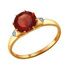 Gold-Ring mit Granat und Zirkonia