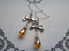 NOW SOLD! Deco Bows Vintage Inspired Handmade Crystal Teardrop Earrings in Golden Topaz…