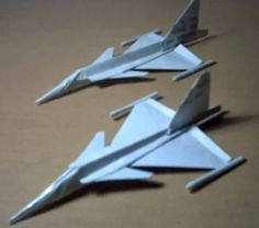 also watch my new upload --jas 39 gripen paper plane remade. Paper Airplane Folding, Origami Paper Plane, Origami Airplane, Instruções Origami, Make A Paper Airplane, Paper Crafts Origami, Paper Folding, Oragami, Star Wars Origami
