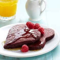 cocoa-kissed red velvet pancakes! may try to combine this recipe for the other one for cake mix pancakes