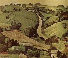 The Stone of Wall 1 - Grant Wood - Regionalism American Gothic, American Art, Landscape Art, Landscape Paintings, Landscapes, Iowa, Grant Wood Paintings, Artist Grants, Wood Artwork