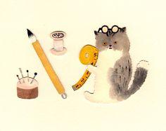 Makoto Maruyama Japanese Illustration, Illustration Art, Illustrations, Cat 2, Reference Images, Japanese Artists, Neko, Drawings, Artwork