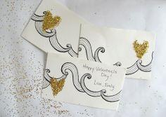 DIY Glitter and Gold Valentines >> http://blog.diynetwork.com/tool-tips/2013/02/06/diy-glitter-valentines-cards/?soc=pinterest#