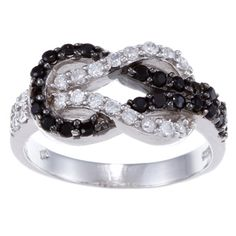 @Overstock - Black and white cubic zirconia ringSterling silver jewelryClick here for ring sizing guidehttp://www.overstock.com/Jewelry-Watches/La-Preciosa-Sterling-Silver-Black-and-White-CZ-Love-Knot-Ring/5692697/product.html?CID=214117 $22.99