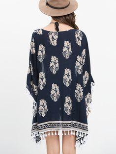 Kimono imprimé demi-manche avec frange -multicolore -French SheIn(Sheinside)