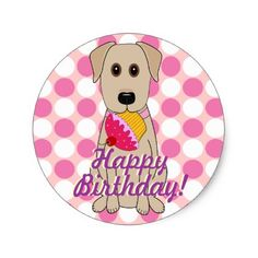 Happy Birthday Yellow Labrador Stickers - birthday diy gift present custom ideas