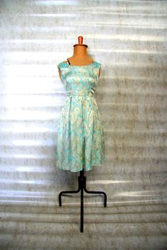 TAYLOR Baby Blue and Gold Brocade Evening Mini by LibertyCrush, $100.00