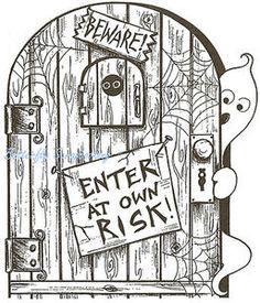 halloween rubber stamps | Halloween Enter Gost Door Wood Mounted Rubber Stamp Northwoods Rubber ...