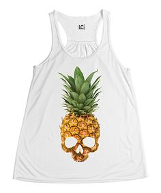 Love this White Pineapple Skull Tank - Women by Sharp Wit on #zulily! #zulilyfinds