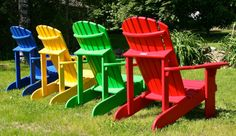 Rear view of Western red cedar Adirondack chairs making a bold statement