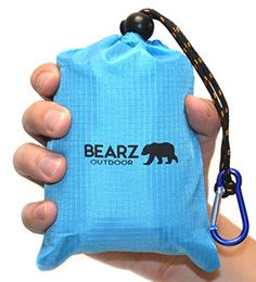 BEARZ Outdoor Picnic Blanket 55x60  Compact Waterproof Pocket Blanket Best for the Beach Travel Hiking Camping Festivals  Durable Sand Proof Towel w Corner Pockets and Loops  Bag Blue *** Check out the image by visiting the link. Amazon Affiliate Program's Ads.