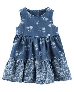 Tiered chambray plus pretty little florals makes this dress a favorite first outfit for her.<br>