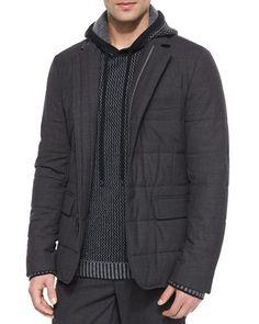 Vince Quilted Zip-Up Blazer, Textured Hoodie Sweatshirt & Traveler Wool Jogger Pants