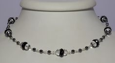 Rock crystal, onyx and hematite in a chain necklace