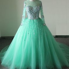 New Arrival Prom Dress,Modest Prom Dresses,Sparkly mint green