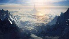 雲の向こうにそびえ立つ城のシルエットと降り注ぐ太陽の光を描いたイラスト壁紙