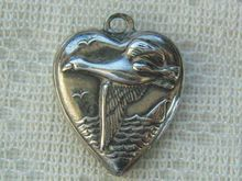 Vintage C1940's Sterling Canadian Goose Puffy Heart Charm