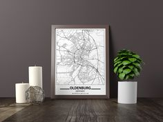 Excited to share the latest addition to my #etsy shop: Oldenburg map print, Minimalistic wall art poster, Germany gifts, Birthday Gift, For father, Father Black And White Wall Art, Black And White City, Black And White Posters, Bathroom Artwork, Artwork Prints, Poster Prints, Art Pieces, Minimalist, Birthday Gifts