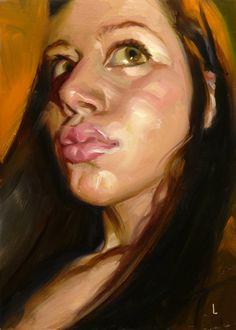 """Smooch""  By John Larriva. 5 x 7 inches, oil on hardboard."
