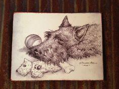 "Scottish Terrier Scottie Dog Metal Picture Plaque Sign ""Mine"" Protecting Toys   #NancyShumakerPallon"