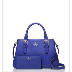 """🍾Stunning Emperor Blue kate spade set This beautiful set includes the Cove Street Provence handbag and the Mikas Pond Stacy wallet.  Both feature cross hatched leather and 14 kt. light gold plated hardware.  Measurements for the handbag:  8.2""""H x 11.7""""W x 4.3D.  The detachable cross body strap drop measure is 45.3"""".                                     The wallet measures 3.9""""H x 7.6""""W.  Wallet has 12 cc slots, 2 billfolds, zippered change pocket and an exterior pocket (4th photo) 20915…"""