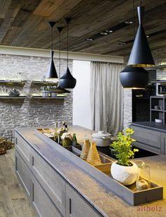 FM Küche Nordkamm » Altholz - Aus Freude am Original Kitchen Design, Sweet Home, Ceiling Lights, Lighting, Home Decor, Stables, Wood, Colors, Modern Farmhouse Kitchens