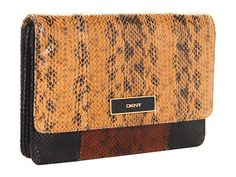 DKNY Color Block Printed Snake Large Clutch