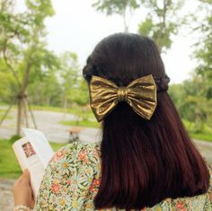 Aliexpress.com : Buy Hair accessory handmade simple fabric gold bling fashion big bow of sargasso clip hair accessory elegant all match on Home Living. $9.34
