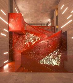 Stunning perforated stair railing