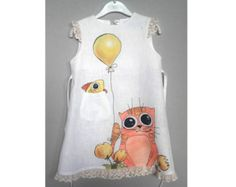 Items similar to Girls gray linen dress -lace painted dress - Hand painted - ON ORDER ONLY - children summer clothing - doll -rainbow -bird- lace girls dress on Etsy