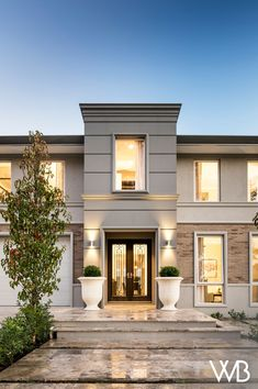 The beauty of balance radiates from The Toorak, a majestic two-storey home designed to suit a Modern Exterior House Designs, Classic House Exterior, Classic House Design, Dream House Exterior, Modern House Design, Exterior Design, Dream Home Design, Facade Design, House Outside Design