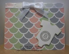 Baby card created using Striped Scallop Framelit Die from Stampin' Up!  http://tracyelsom.stampinup.net