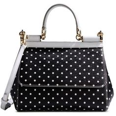 Dolce & Gabbana Mini Polka Dot Sicily Satchel ($1,056) ❤ liked on Polyvore featuring bags, handbags, black, black satchel purse, genuine leather handbags, satchel handbags, black leather handbags and black handbags