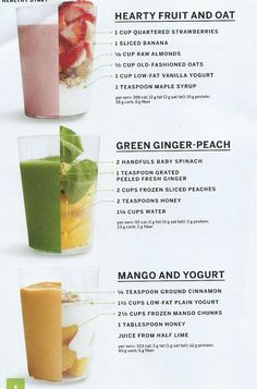 Nice variety of Healthy smoothies