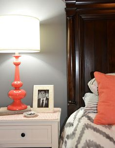Coral   Gray Master Bedroom {My Home}