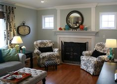Hooked on Houses Julia's Sea Salt Family Room AFTER. --Sea Salt Paint color on walls (from Sherman Williams.)