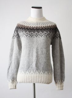Your place to buy and sell all things handmade Fair Isle Knitting Patterns, Knit Patterns, Free Knitting, Knitting Stitches, Icelandic Sweaters, Linen Stitch, Knitwear, Knit Crochet, Autumn Fashion