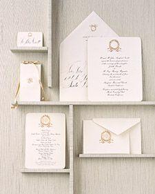 Golden wreath wedding stationary