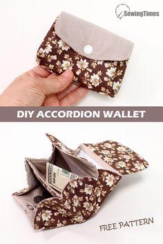 Diy Wallet Pattern Free, Purse Patterns Free, Wallet Sewing Pattern, Pouch Pattern, Bag Patterns To Sew, Sewing Patterns, Diy Coin Purse Pattern, Diy Leather Wallet Pattern, Coin Purse Tutorial