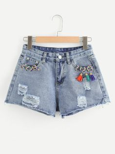 To find out about the Tassel Detail Ripped Denim Shorts at SHEIN, part of our latest Denim Shorts ready to shop online today! Crop Top Outfits, Cool Outfits, Casual Outfits, Diy Shorts, Cute Shorts, Girls Summer Outfits, Jeddah, Embroidered Jeans, Ripped Denim