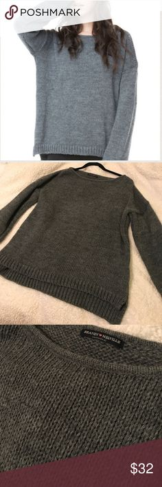 Brandy Melville Gray Sage Knit Sweater Super cozy and oversized gray sweater from Brandy Melville. One size fits all. Great condition! No holes. Perfect sweater for Fall/Winter! Brandy Melville Sweaters