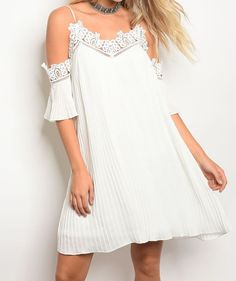 Cold Shoulder Sleeveless Off White Crochet Lace Shift Fashion Dress | Sz 6 8 10 #style Fashion #Dresses #Shift #goingoutdresses #shopping