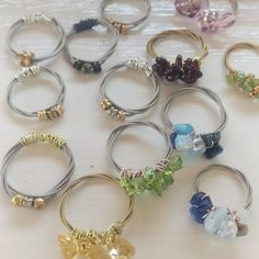 Recycled guitar string rings with gemstones and crystals