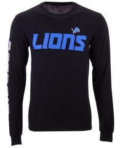 f6f9dfaa Authentic Nfl Apparel Men's Detroit Lions Streak Route Long Sleeve T-Shirt  - Black