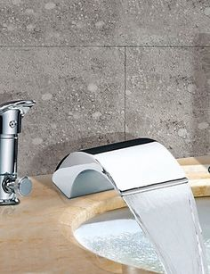 Bathtub Tap  Contemporary  Waterfall  Sidespray  Stainless Steel Chrome Simple stylish luxurious classic and durable design -- Check out this great product.