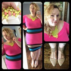 Www.flightofthefatgirl.com  Pink colorblock dress from Posh Shoppe.   Plus size style.